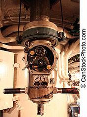 a, periszkóp, alatt, egy, tengeralattjáró