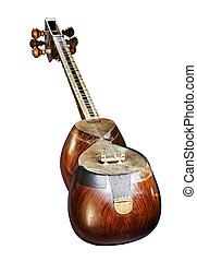 A Persian Tar musical string instrument, isolated on white background. The Tar is a long-necked waisted lute instrument, and the word 'tar' tself means 'string' in Persian.