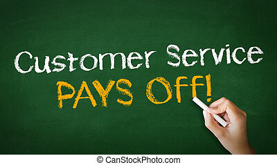 A person drawing and pointing at a Customer service pays off Chalk Illustration