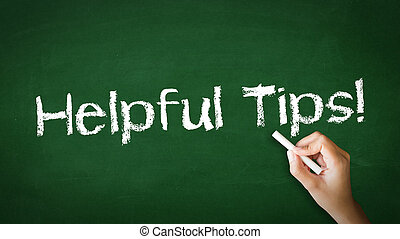 A person drawing and pointing at a Helpful Tips Chalk Illustration