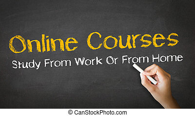 A person drawing and pointing at a Online Courses Chalk Illustration