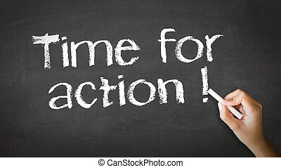 A person drawing and pointing at a Time for Action Chalk Illustration