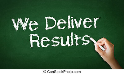 We deliver Results Chalk Illustration - A person drawing and...