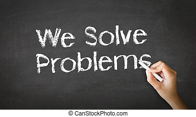 A person drawing and pointing at a We Solve Problems Chalk Illustration
