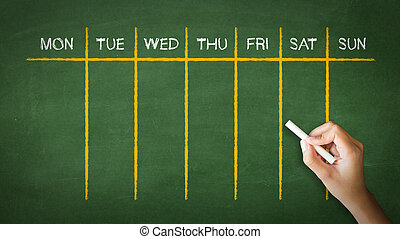 Weekly Calendar Chalk Drawing - A person drawing and...