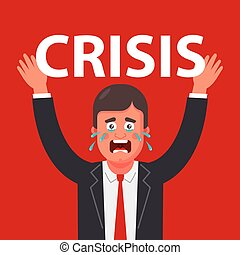 a person experiences tremendous pressure on himself because of the crisis. flat vector character inclusion.