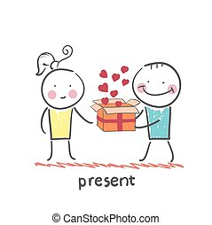 a person gives a gift with hearts girl