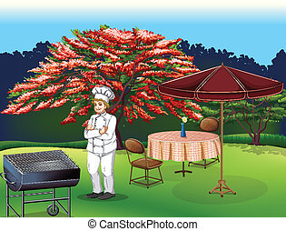 A person grilling at the park