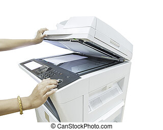 A person handling a multi purpose copier machine isolated on...