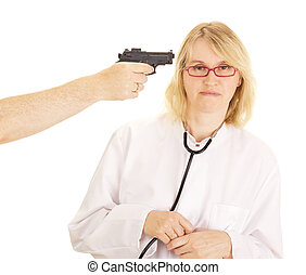 A person hold the doctor at gunpoint