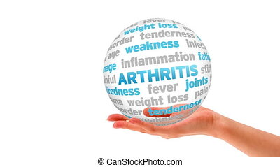A person holding a 3d Arthritis word Sphere
