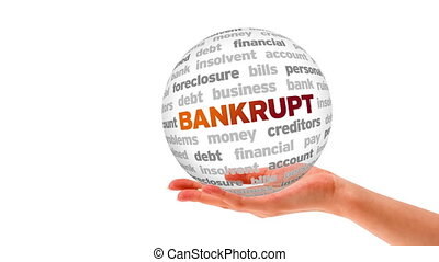 Bankrupt Word Sphere - A person holding a 3d Bankrupt Word...