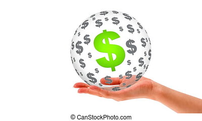 A person holding a 3D dollar Sphere