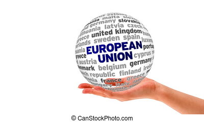 European Union Word Sphere - A person holding a 3D European...