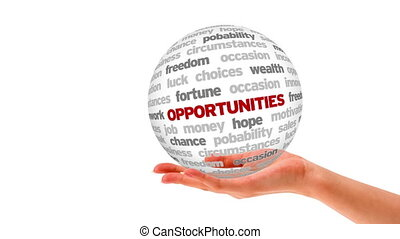 Opportunity Word Sphere - A person holding a 3D Opportunity...