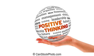 A person holding a 3d Positive thinking word sphere