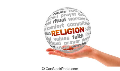 Religion Word Sphere - A person holding a 3D Religion Word...