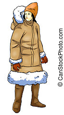 A human figure in fur jacket, tracing path included