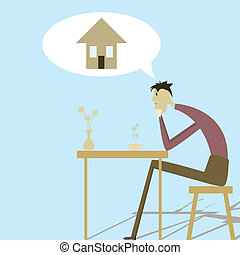A person in need of housing - Sad man sitting at a table and...