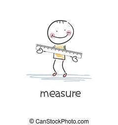 a, person, med, a, ruler., illustration.