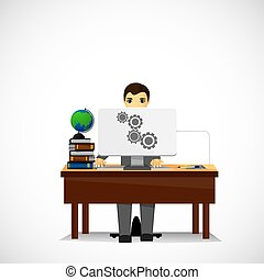 a person sitting on computer