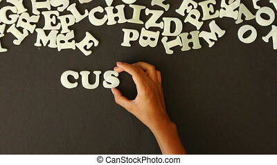 Customer Care - A person spelling Customer Care with Plastic...