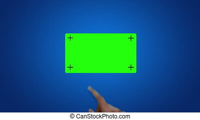 A person using a touch screen sliding green screen buttons.