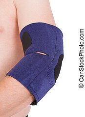 A Person Wearing Elbow Brace Over White Background