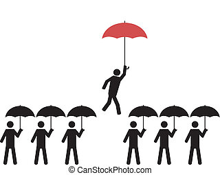 A person with red umbrella is picked