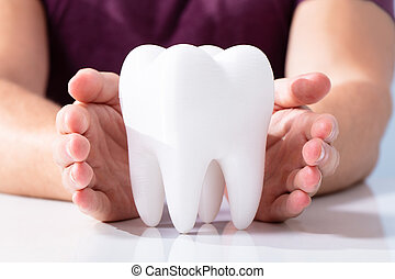 Hands Protecting Healthy Hygienic White Tooth