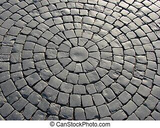 cobble street - a pert of a cobble street as a circle
