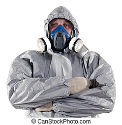 pest control worker - A pest control worker wearing a mask, ...