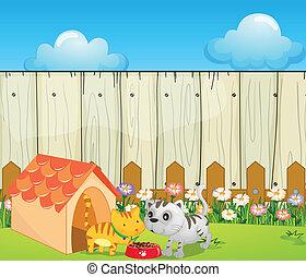 A pethouse inside the fence