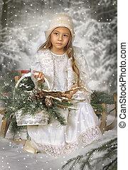 a, petite fille, dans, les, hiver, forêt