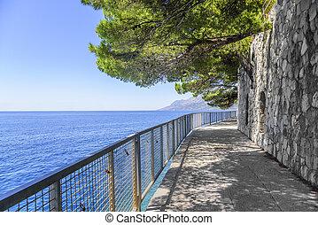 a, pfad, entlang, der, meer, coast., brela, croatia.