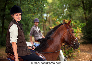 a, pferderücken mitfahrer