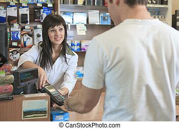 a, pharmacien, portion, client, à, compteur, endroit