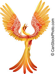 A phoenix bird rising from the ashes with wings spread out