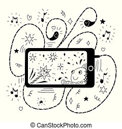 A phone with earpieces. Black and white illustration for coloring book. Vector outline illustration.