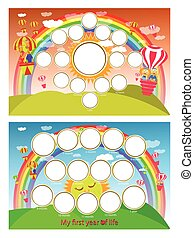 A photo frame of a rainbow and balloon in the sky. Twelve months of development. Horizontal illustration for your design.