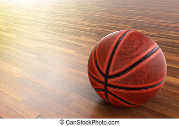 Basketball on wood floor