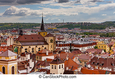 A photo of the brick rooftoops of old Prague.