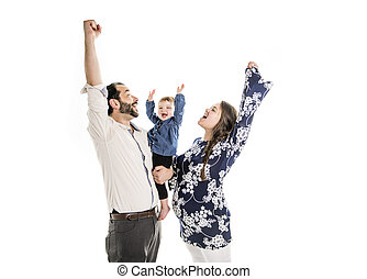 Photo of the young family with little child girl isolated on white background.