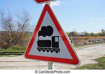 Warning train sign