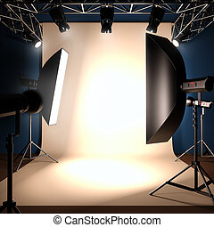 A photo studio background template. - A 3d illustration of a...