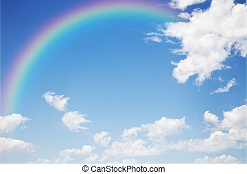 A photography of a blue sky rainbow background
