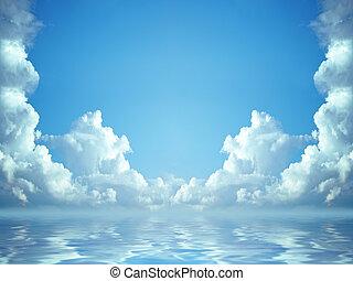 A photography of a idyllic blue sky