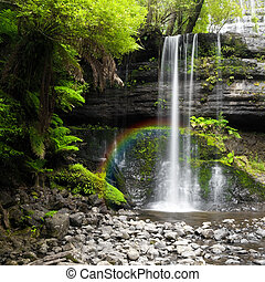 A photography of a nice rainforest waterfall in Australia with a little rainbow