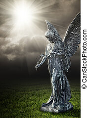 A photography of a religious angel under a dark sky