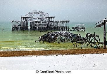 Brighton Pier in snow